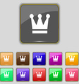 King Crown icon sign Set with eleven colored vector image vector image