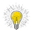 light bulb glowing sketch draw vector image vector image