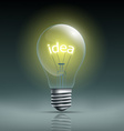 light bulb with word idea vector image vector image