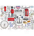 london city doodles elements collection hand drawn vector image