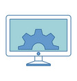 monitor computer with gears vector image