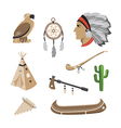 Native american indian icons vector image