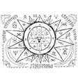 ouija magic spiritual board design with pentagram vector image