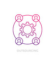 outsourcing icon on white linear vector image