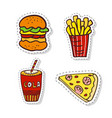 patches elements with fast food doodle badges vector image
