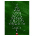 Pen line drawing christmas tree green