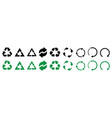 recycle icons set of black and green recycle icons vector image vector image