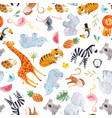 safari animals watercolor pattern vector image vector image