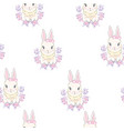 seamless pattern with cute cartoon bunny baby vector image