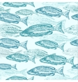 seamless pattern with sketches of fish vector image vector image