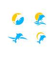 set of dolphin smart animal logo design vector image