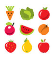 set of fruits and vegetables harvest icons vector image vector image