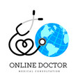 sign in the form of a stethoscope in the shape vector image