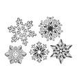 snowflake set engraving vector image vector image