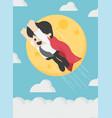 super businessman is flying in sky background vector image vector image