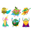 superheroes fruits vegetables healthy food mascot vector image