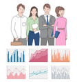 teamwork presentation chart and graph icons vector image vector image