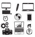 technology computer telephone and people vector image vector image
