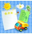 Toy truck paper postcard template vector image