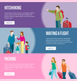 travelling people horizontal flyers set vector image vector image