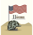 veterans day and usa flag with helmet vector image