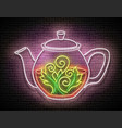 vintage glow signboard with ornate glass tea pot vector image