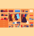 wardrobe inner space closet shelves and hangers vector image