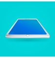 White tablet with empty screen isolated on blue vector image vector image