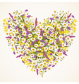 Wild flower heart vector image