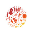 wine icons isolated on white vector image vector image
