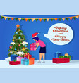 woman wearing hat putting gift box under fir-tree vector image vector image