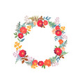 wreath with flowers and leaves in circle colorful vector image