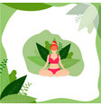 yoga girl meditate outdoor in lotus position vector image