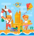 children s summer activities at the beach flat vector image