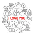 i love you linear vector image