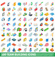 100 team building icons set isometric 3d style vector image