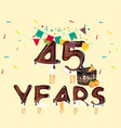 45 years happy birthday card vector image vector image