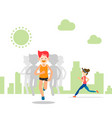 active young man and woman running and training vector image