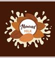 almond milk splashing effect with set vector image
