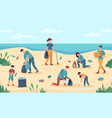 beach cleaning volunteers protect sea coast from vector image vector image