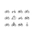 bicycle icon set in thin line style with editable vector image vector image