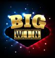 big win casino banner for poker roulette slot vector image