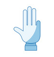 blue color shading silhouette hand showing four vector image vector image