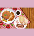 breakfast set on wooden table vector image vector image