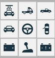 car icons set with pickup truck battery and vector image vector image