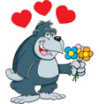 Cartoon Gorilla with Flowers vector image vector image