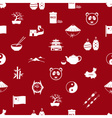 China theme icons white and red seamless pattern vector image vector image
