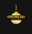 christmas sale banner with golden christmas ball vector image vector image