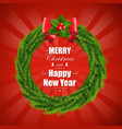 christmas wreath isolated red background vector image vector image