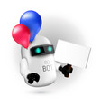 cute flying robot with red and blue balloons vector image vector image